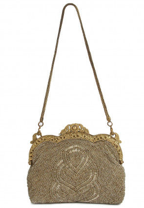 Hand Embroidered Cotton Vintage Batua Clutch in Golden