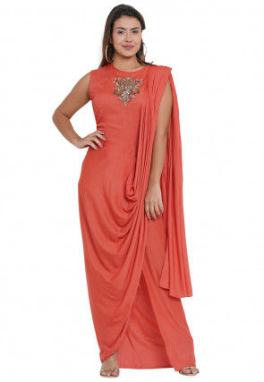 Hand Embroidered Cowl Style Modal Satin Gown in Peach
