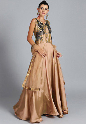 Hand Embroidered Crepe Abaya Style Suit in Beige