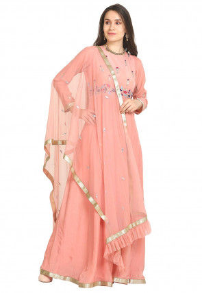 Hand Embroidered Crepe Abaya Style Suit in Light Peach