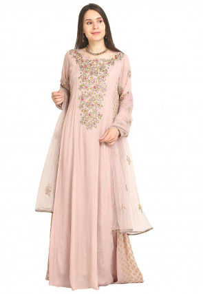 Hand Embroidered Crepe Abaya Style Suit in Pastel Pink