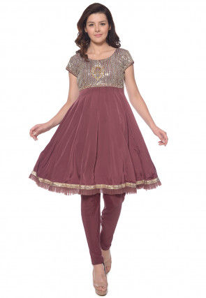 Hand Embroidered Crepe Anarkali Kurta Set in Dusty Purple