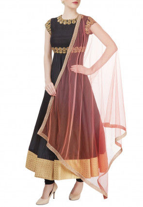 Hand Embroidered Crepe Anarkali Suit in Black