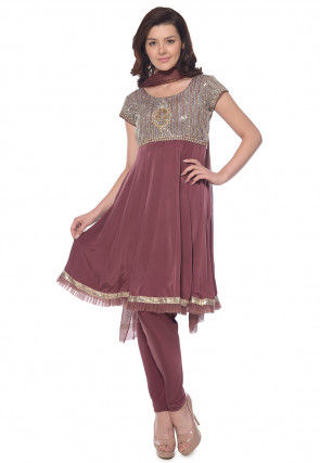 Hand Embroidered Crepe Anarkali Suit in Dusty Purple