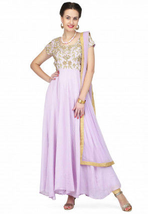 Hand Embroidered Crepe Anarkali Suit in Lilac