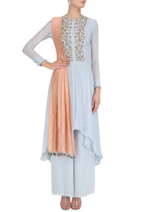 Hand Embroidered Georgette Asymmetric Suit in Sky Blue