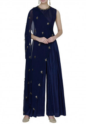 Hand Embroidered Crepe Cape Style Jumpsuit in Navy Blue