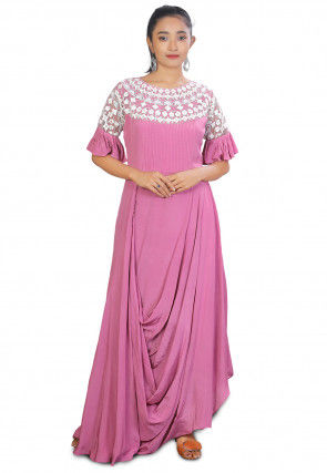 Embroidered Crepe Cowl Style Gown in Pink