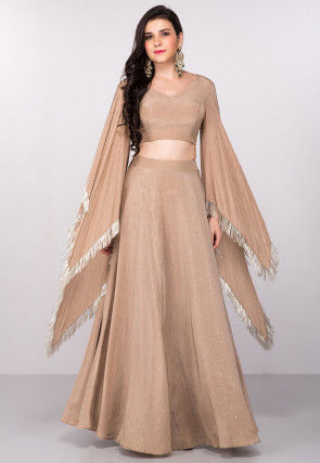 Hand Embroidered Crepe Crop Top N Skirt in Beige