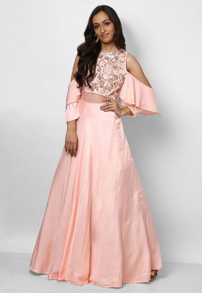 Hand Embroidered Crepe Flared Gown in Pink