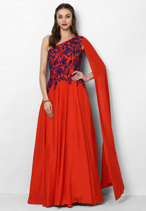 Hand Embroidered Crepe Flared Gown in Red