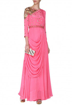 Hand Embroidered Crepe Gown with Front Cowl in Pink