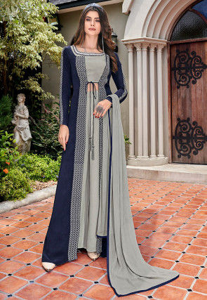 Hand Embroidered Crepe Jacket Style Pakistani Suit in Navy Blue