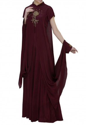 Hand Embroidered Crepe Layered Gown in Wine