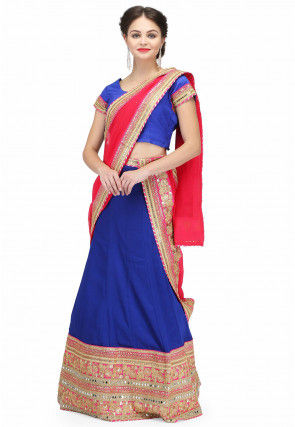 Hand Embroidered Crepe Lehenga in Blue