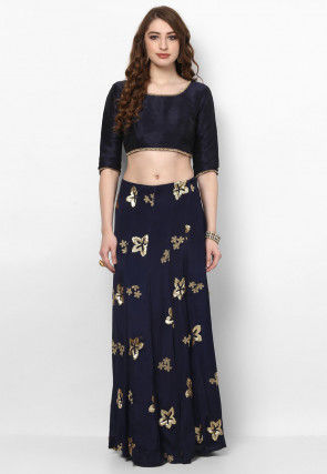 Hand Embroidered Crepe Lehenga in Navy Blue