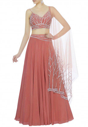 Hand Embroidered Crepe Lehenga in Old Rose