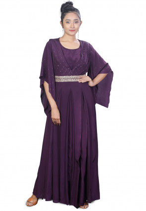 Embroidered Crepe Pleated Gown in Violet