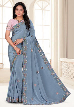 Hand Embroidered Crepe Saree in Dusty Blue