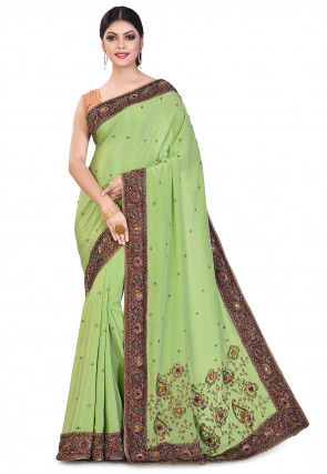Hand Embroidered Crepe Saree in Light Green