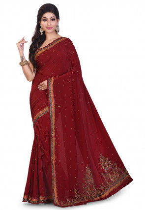 Hand Embroidered Crepe Saree in Maroon