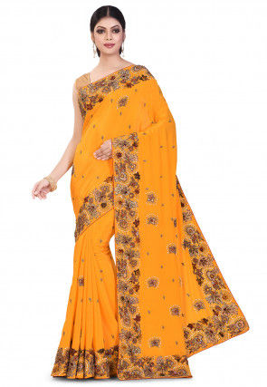 Hand Embroidered Crepe Saree in Mustard