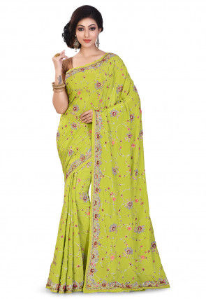 Hand Embroidered Crepe Saree in Olive Green