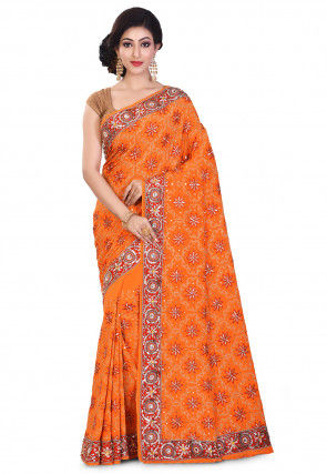 Hand Embroidered Crepe Saree in Orange