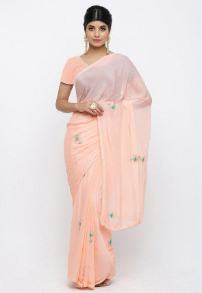 Hand Embroidered Crepe Saree in Peach