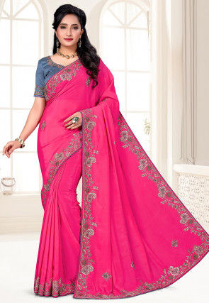 Hand Embroidered Crepe Saree in Pink