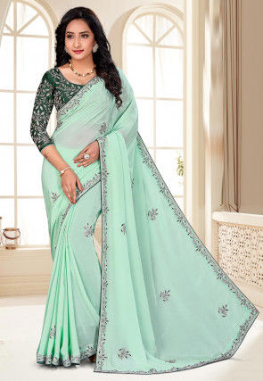 Hand Embroidered Crepe Saree in Sea Green