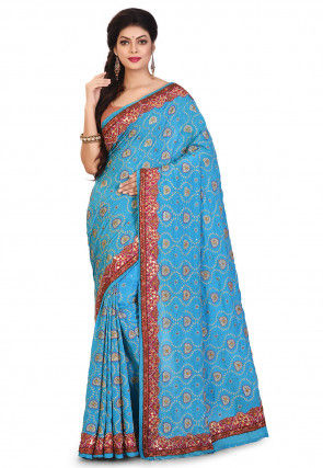 Hand Embroidered Crepe Saree in Sky Blue