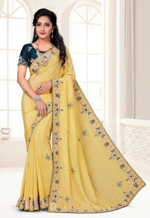 Hand Embroidered Crepe Saree in Yellow