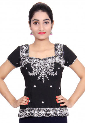 Hand Embroidered Crepe Top in Black