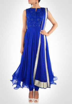 Hand Embroidered Crushed Chiffon Anarkali Suit in Royal Blue