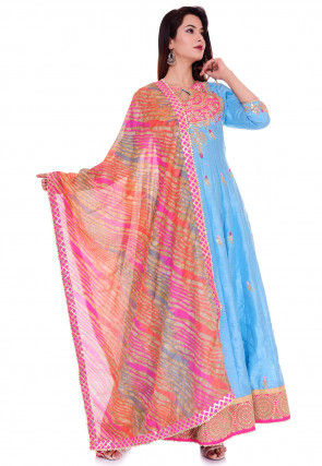 Hand Embroidered Dupion Silk Abaya Style Suit in Light Blue
