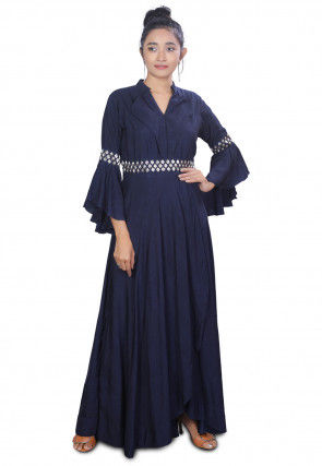 Embroidered Dupion Silk Asymmetric Gown in Navy Blue