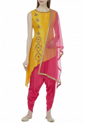 Hand Embroidered Dupion Silk Asymmetric Punjabi Suit in Yellow