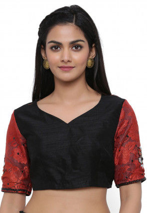 Hand Embroidered Dupion Silk Blouse in Black and Maroon
