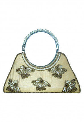 Hand Embroidered Dupion Silk Clutch Bag in Beige