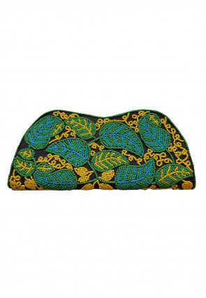Hand Embroidered Dupion Silk Clutch Bag in Black and Green