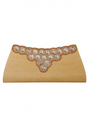Hand Embroidered Dupion Silk Envelope Clutch Bag in Beige