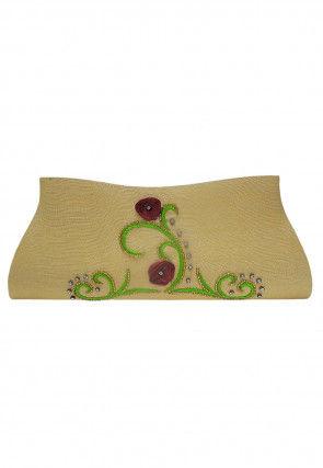 Hand Embroidered Dupion Silk Envelope Clutch Bag in Beige