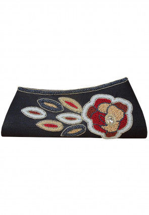 Hand Embroidered Dupion Silk Envelope Clutch Bag in Black