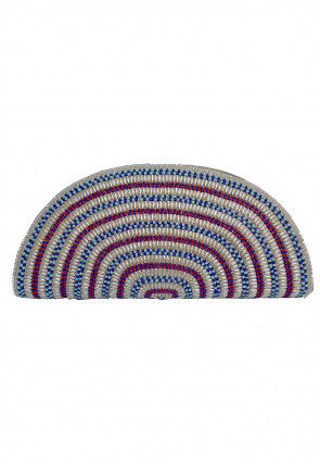 Hand Embroidered Dupion Silk Envelope Clutch Bag in Multicolor
