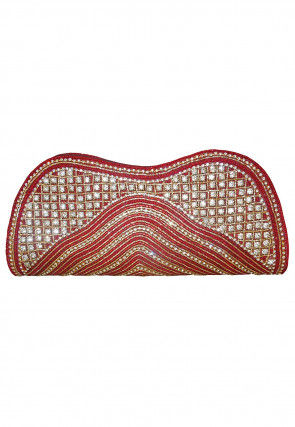 Hand Embroidered Dupion Silk Envelope Clutch Bag in Red