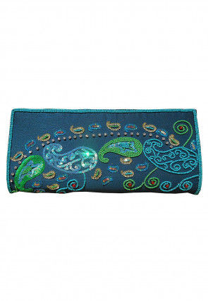Hand Embroidered Dupion Silk Envelope Clutch Bag in Teal Blue