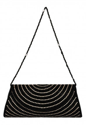 Hand Embroidered Dupion Silk Flap Clutch Bag in Black