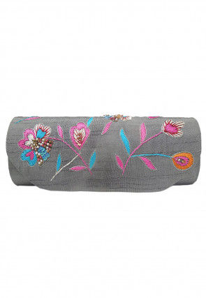 Hand Embroidered Dupion Silk Flap Clutch Bag in Grey