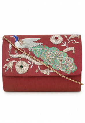 Hand Embroidered Dupion Silk Flap Clutch Bag in Maroon